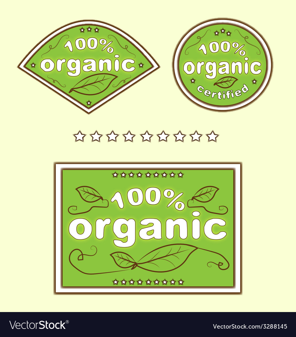 Organic green eco food labels vector | Price: 1 Credit (USD $1)