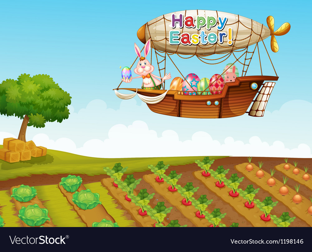 An airship passing over a farm vector | Price: 1 Credit (USD $1)
