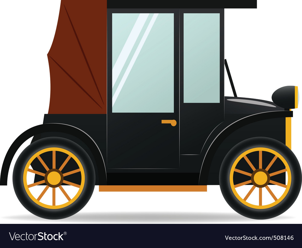 Cartoon old retro car in black color vector | Price: 1 Credit (USD $1)