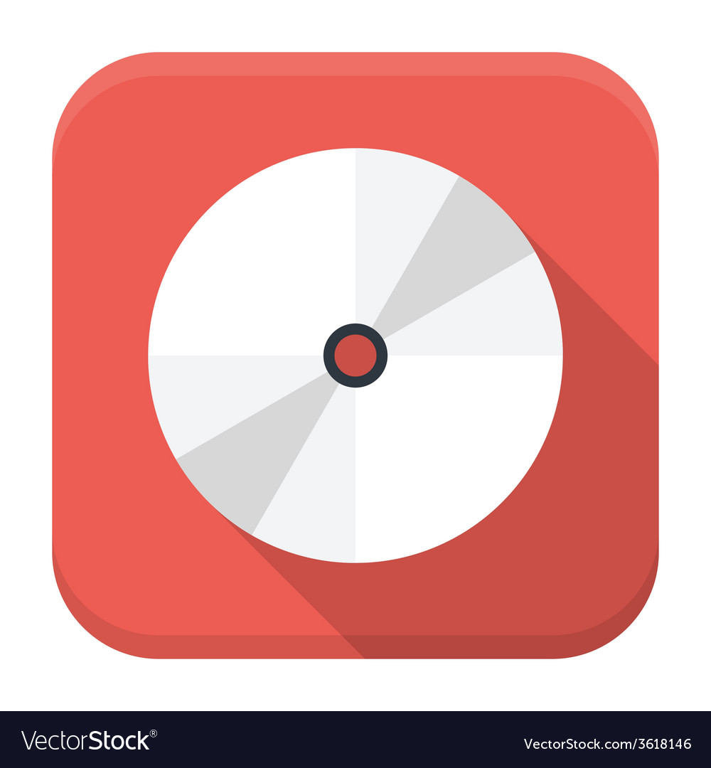 Cd disc flat app icon with long shadow vector | Price: 1 Credit (USD $1)
