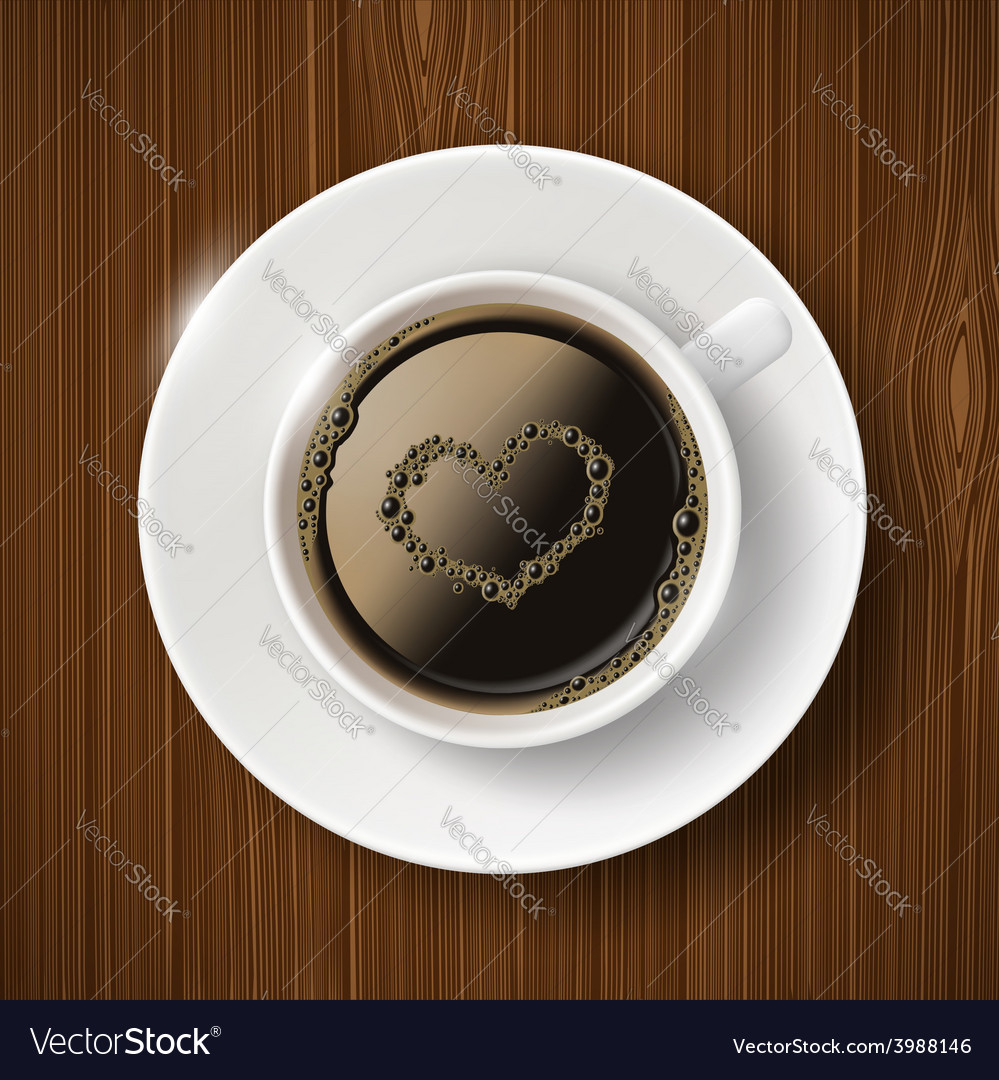 Cup of coffee and heart of the bubbles vector | Price: 1 Credit (USD $1)