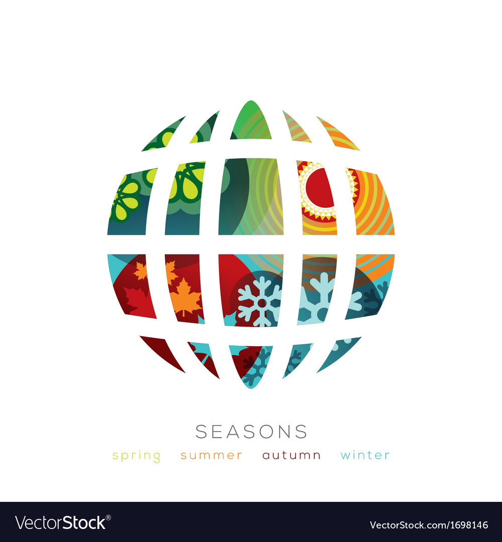 Globe with four seasons concept vector