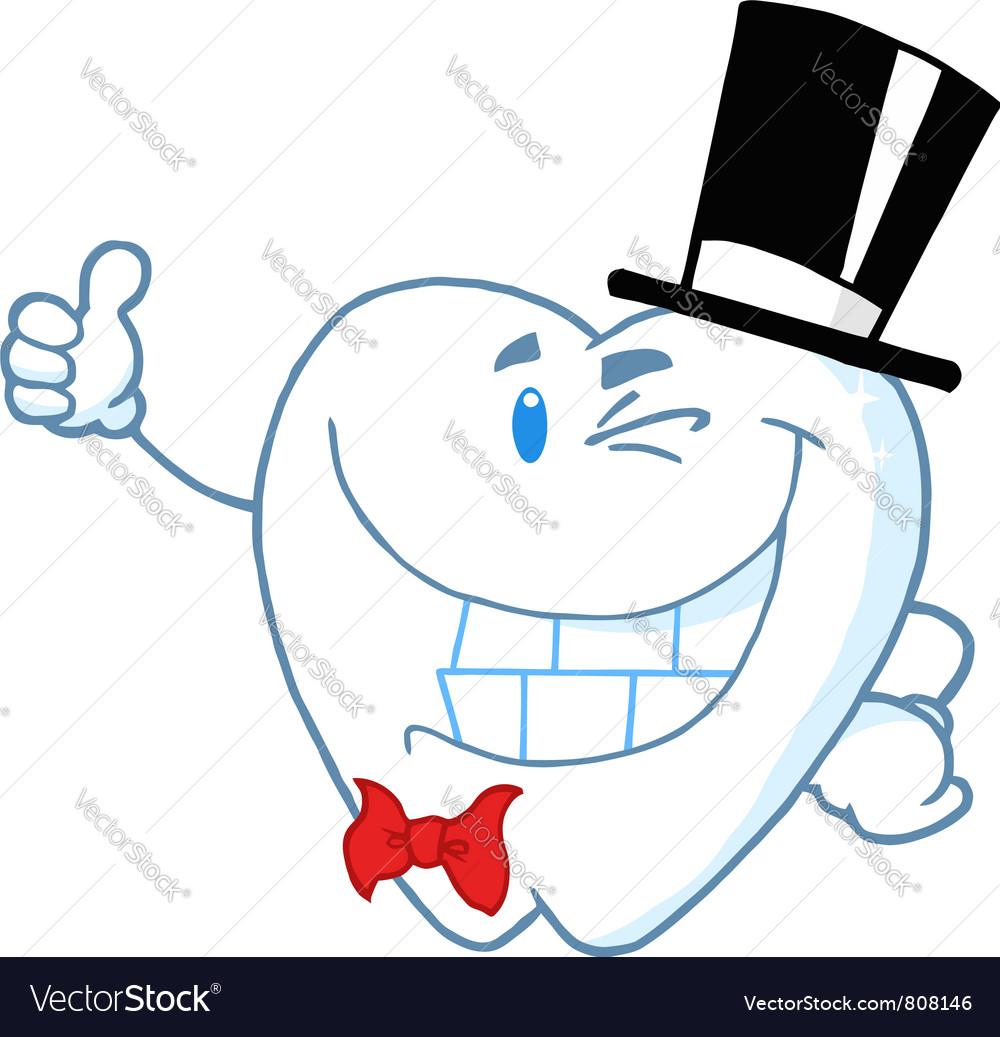 Happy winking gentleman tooth vector   Price: 1 Credit (USD $1)