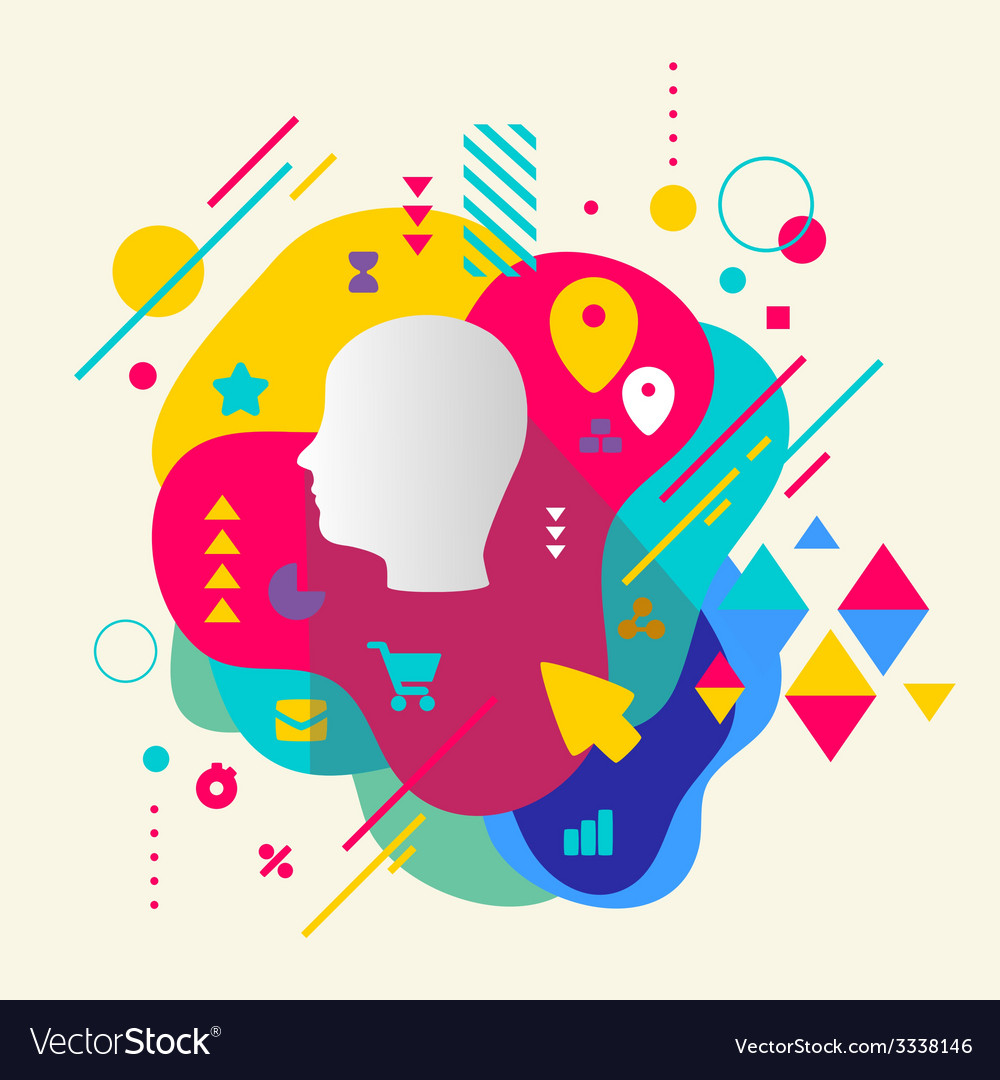 Human head on abstract colorful spotted background vector | Price: 3 Credit (USD $3)