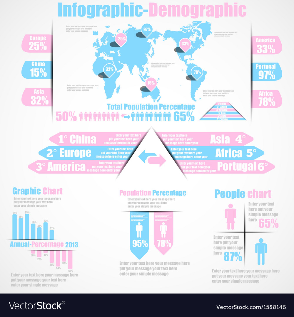 Infographic demographic new style 10 pink vector | Price: 1 Credit (USD $1)