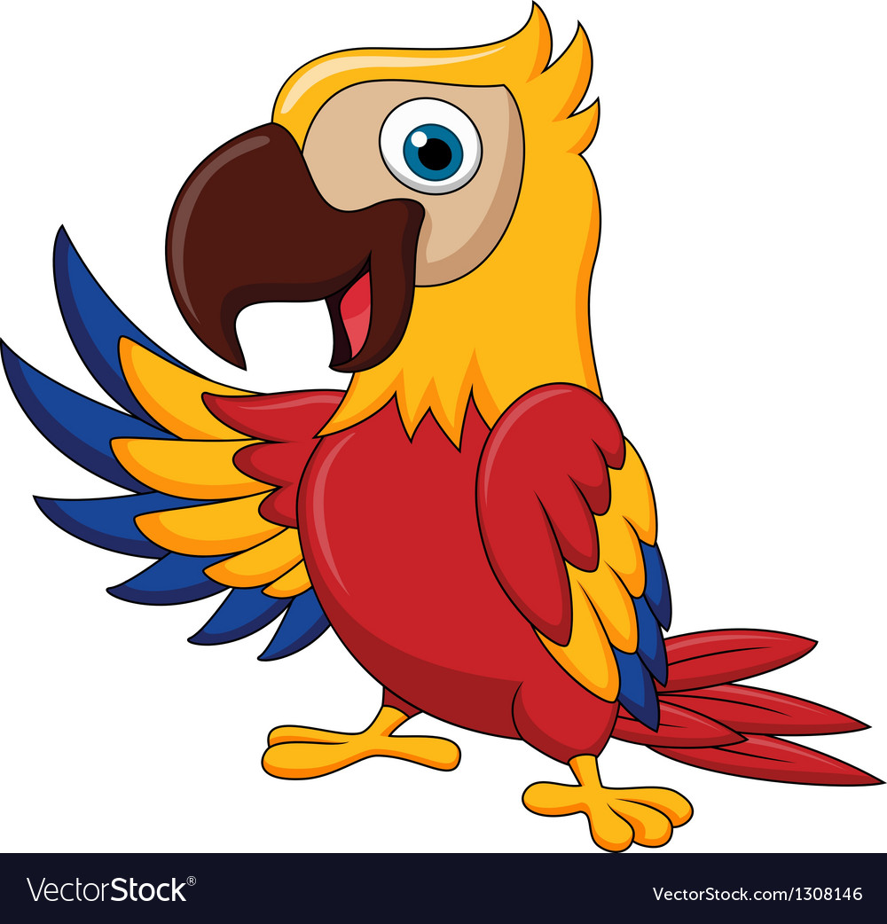 Macaw bird cartoon waving vector | Price: 3 Credit (USD $3)