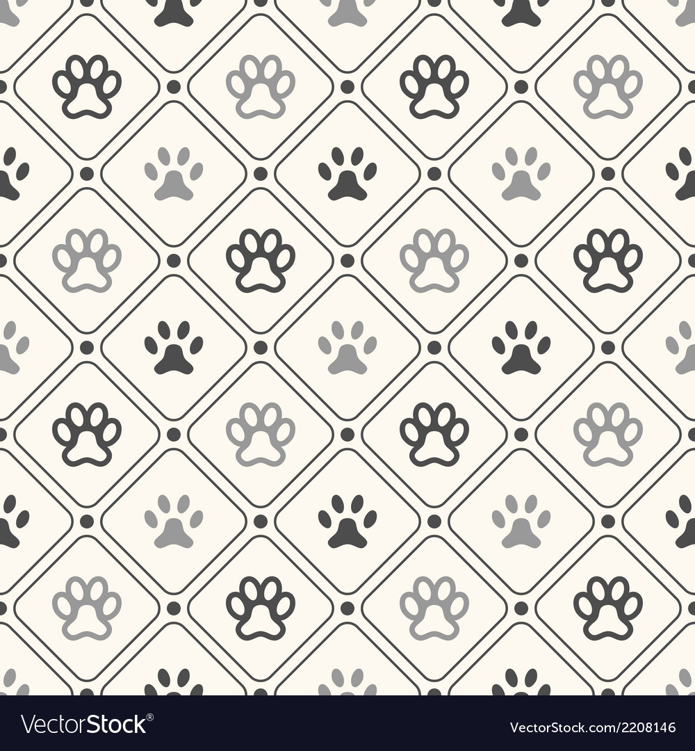 Seamless animal pattern of paw footprint in frame vector | Price: 1 Credit (USD $1)