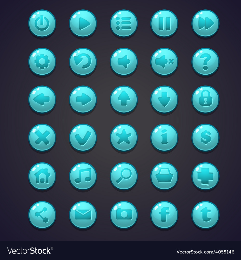Set of blue round buttons for the user interface vector | Price: 1 Credit (USD $1)