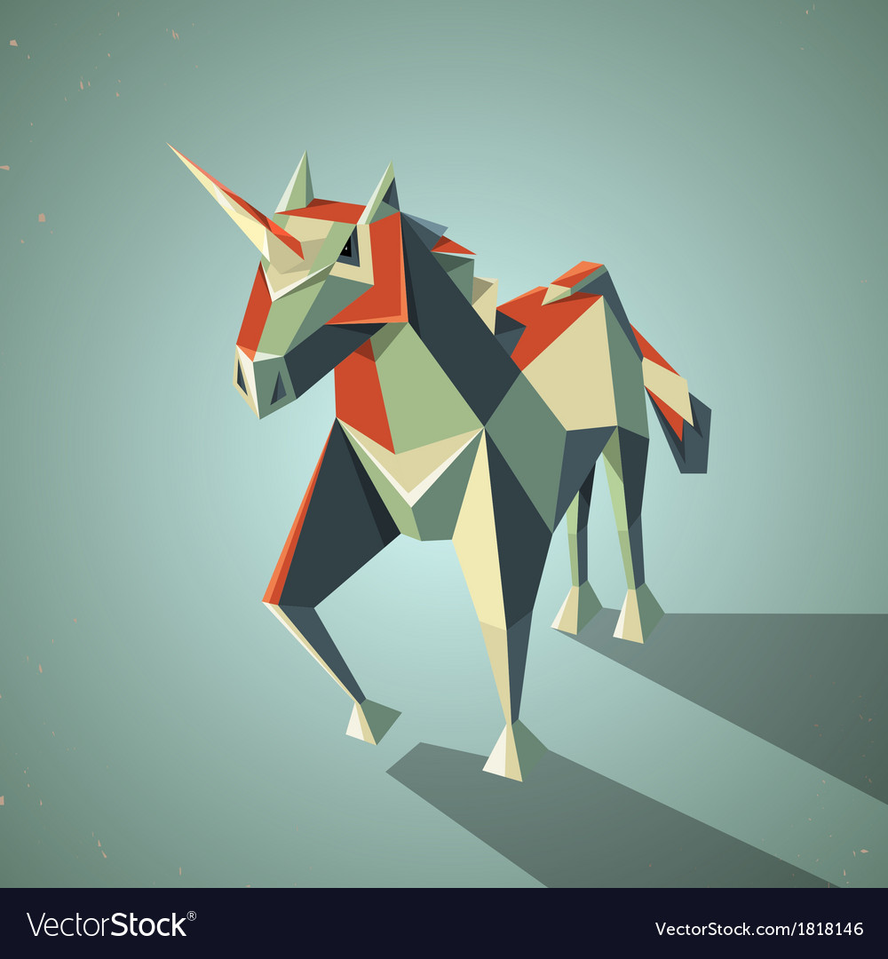 Three dimensional magic origami unicorn from vector | Price: 1 Credit (USD $1)