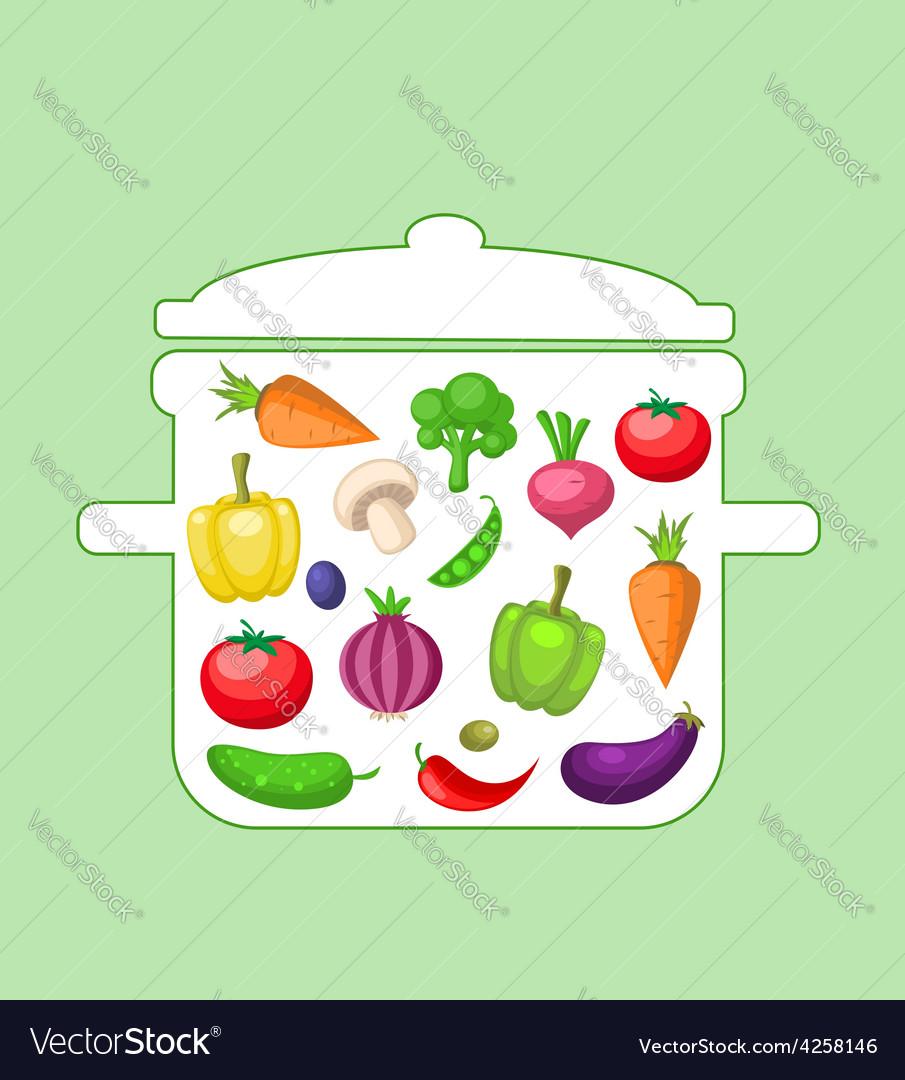 Vegetables in the pan vector