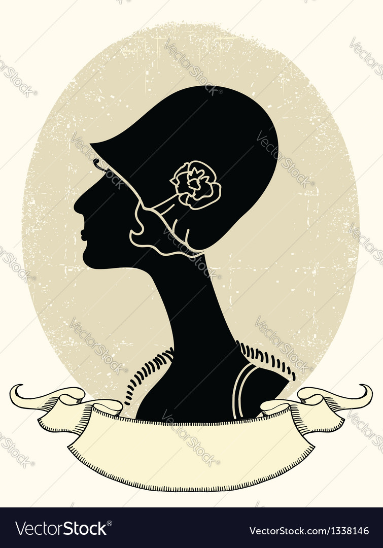 Vintage woman portrait black silhouette on white vector | Price: 1 Credit (USD $1)