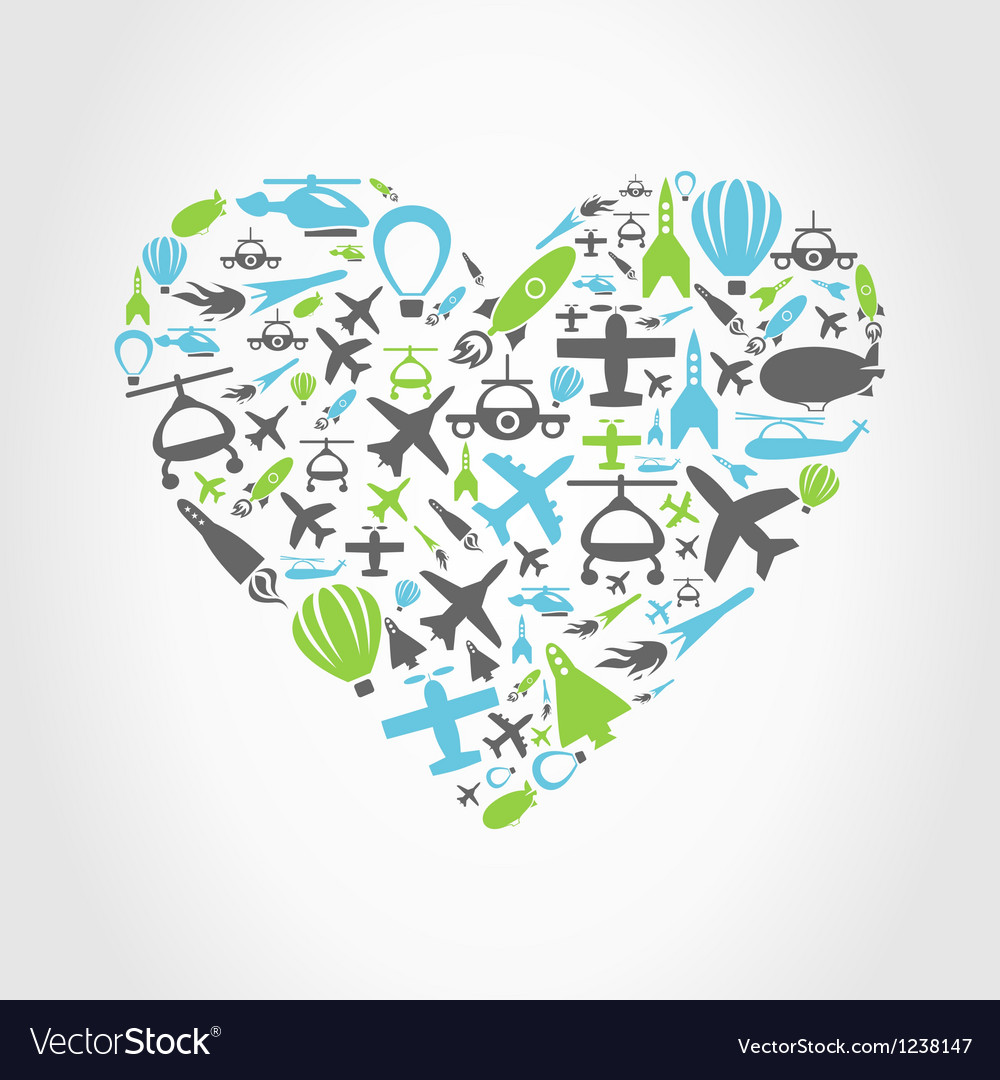 Aircraft heart vector | Price: 1 Credit (USD $1)