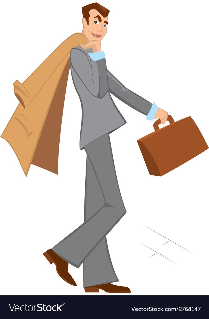 Cartoon man with brown briefcase walking vector | Price: 1 Credit (USD $1)