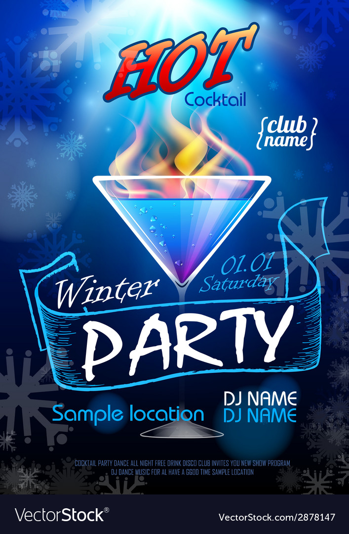 Disco background winter cocktail party poster vector | Price: 3 Credit (USD $3)