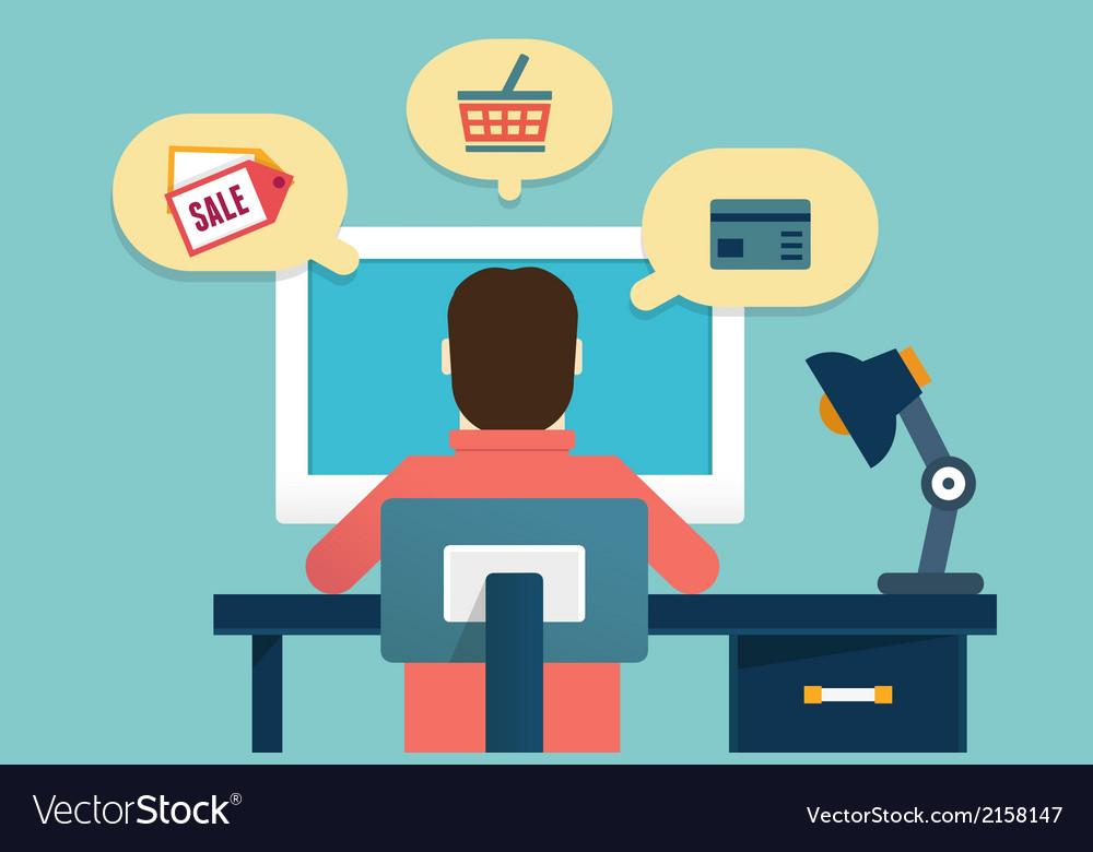 Flat concept of process e-marketing and e-commerce vector | Price: 1 Credit (USD $1)