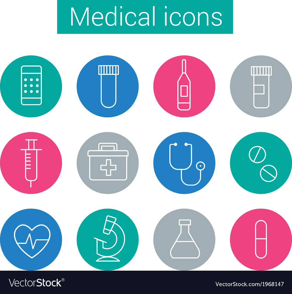 Flat medical icons in circles vector | Price: 1 Credit (USD $1)