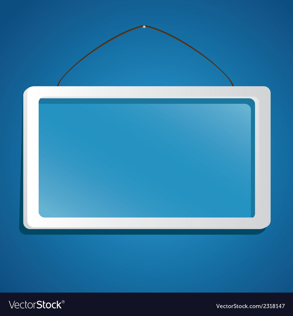 Glass frame suspended from a rope isolated on blue vector | Price: 1 Credit (USD $1)