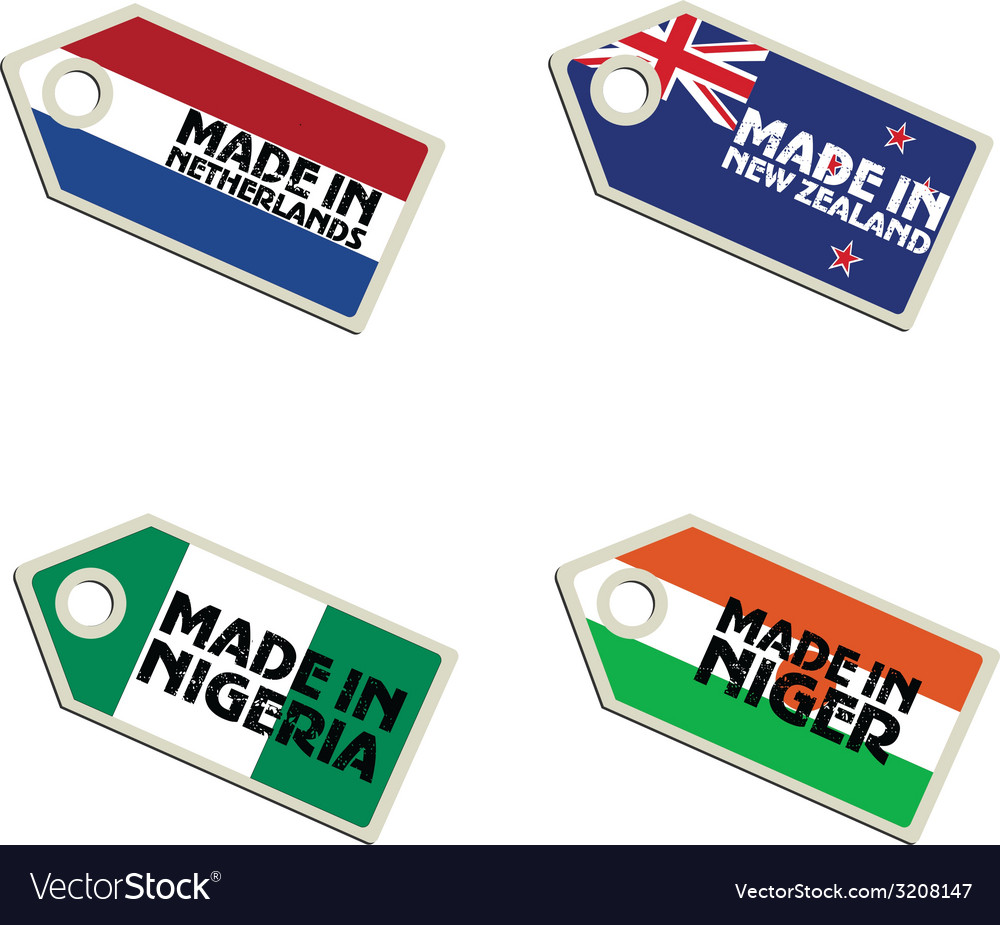 Label made in netherlands new zealand niger nigeri vector | Price: 1 Credit (USD $1)