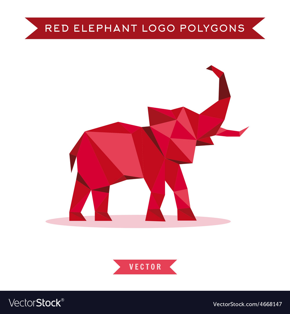Red elephant logo with reflux and low poly vector | Price: 1 Credit (USD $1)