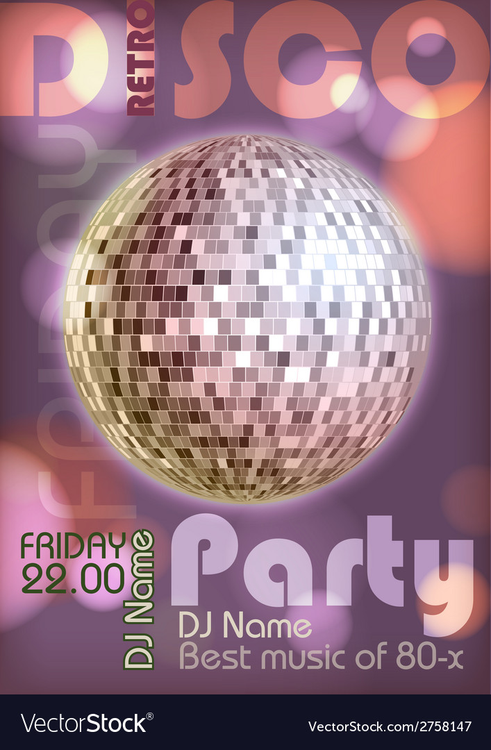 Retro disco poster disco background vector | Price: 1 Credit (USD $1)