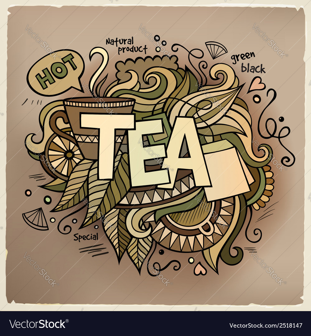 Tea hand lettering and doodles elements vector | Price: 1 Credit (USD $1)