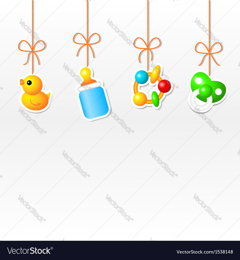 Background with hanging babys things vector | Price: 1 Credit (USD $1)