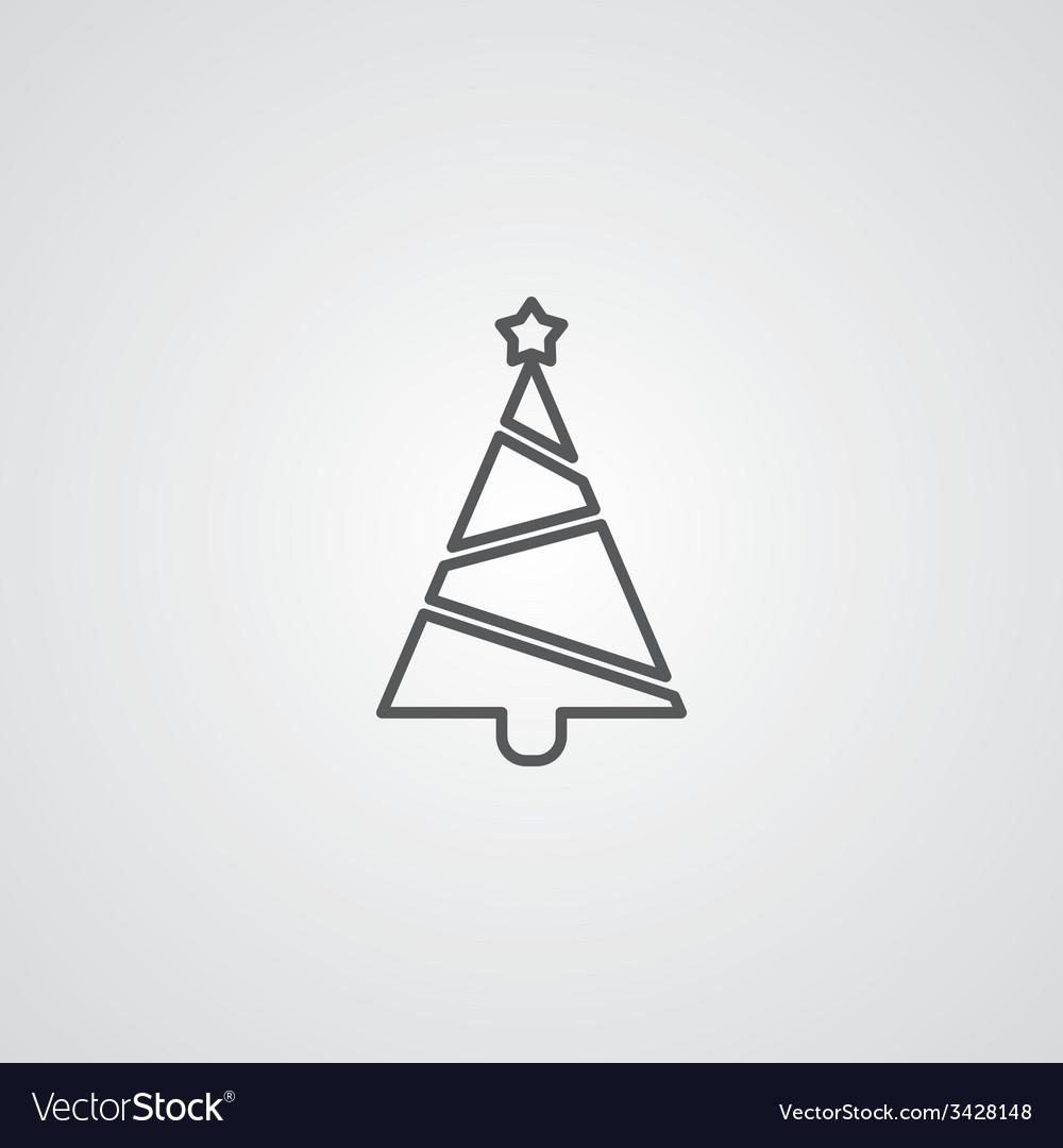 Christmas tree outline symbol dark on white vector | Price: 1 Credit (USD $1)
