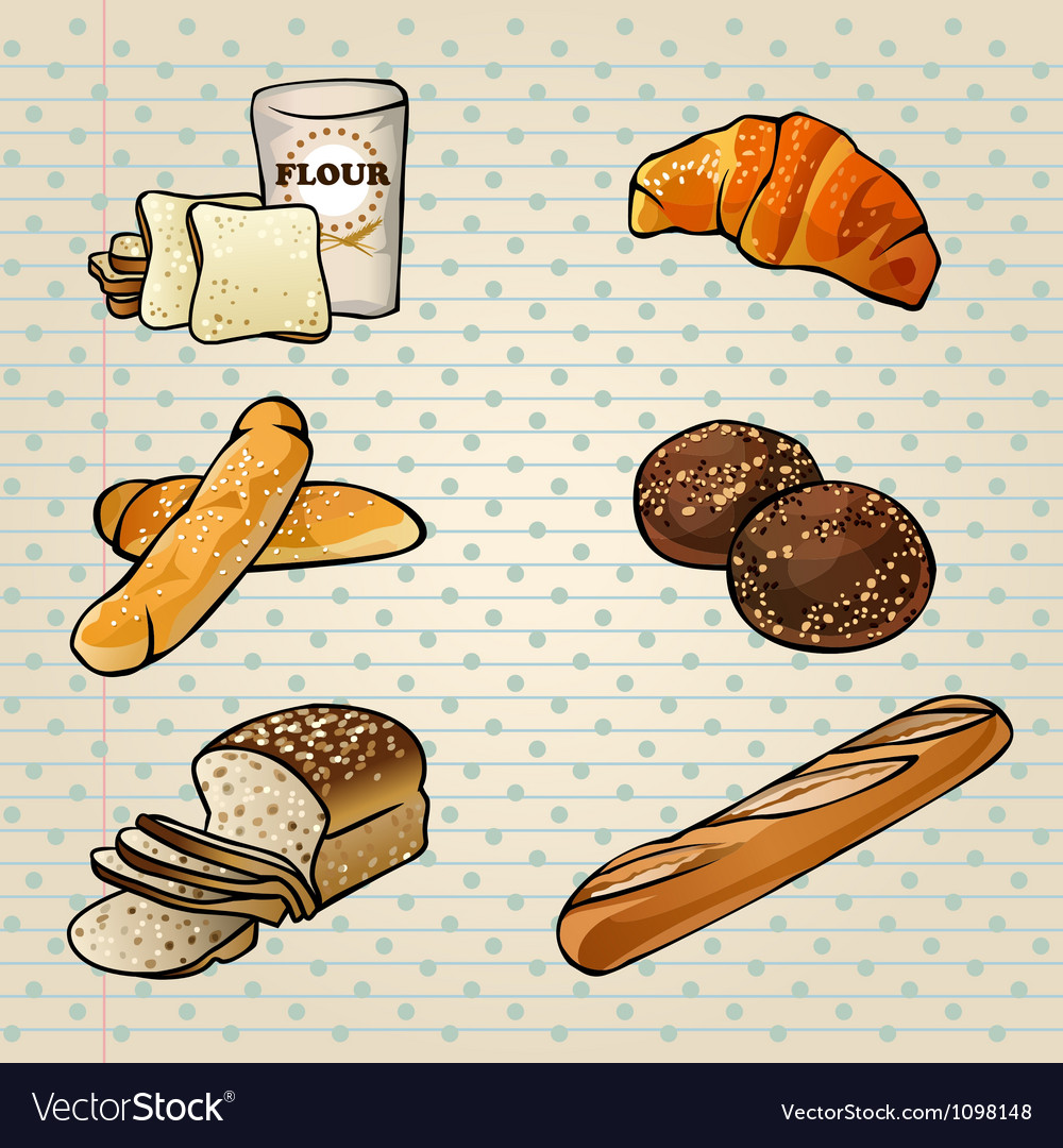 Colorful bakery products set vector | Price: 1 Credit (USD $1)