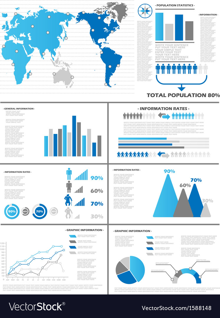 Infographic demographics 6 blue vector | Price: 1 Credit (USD $1)