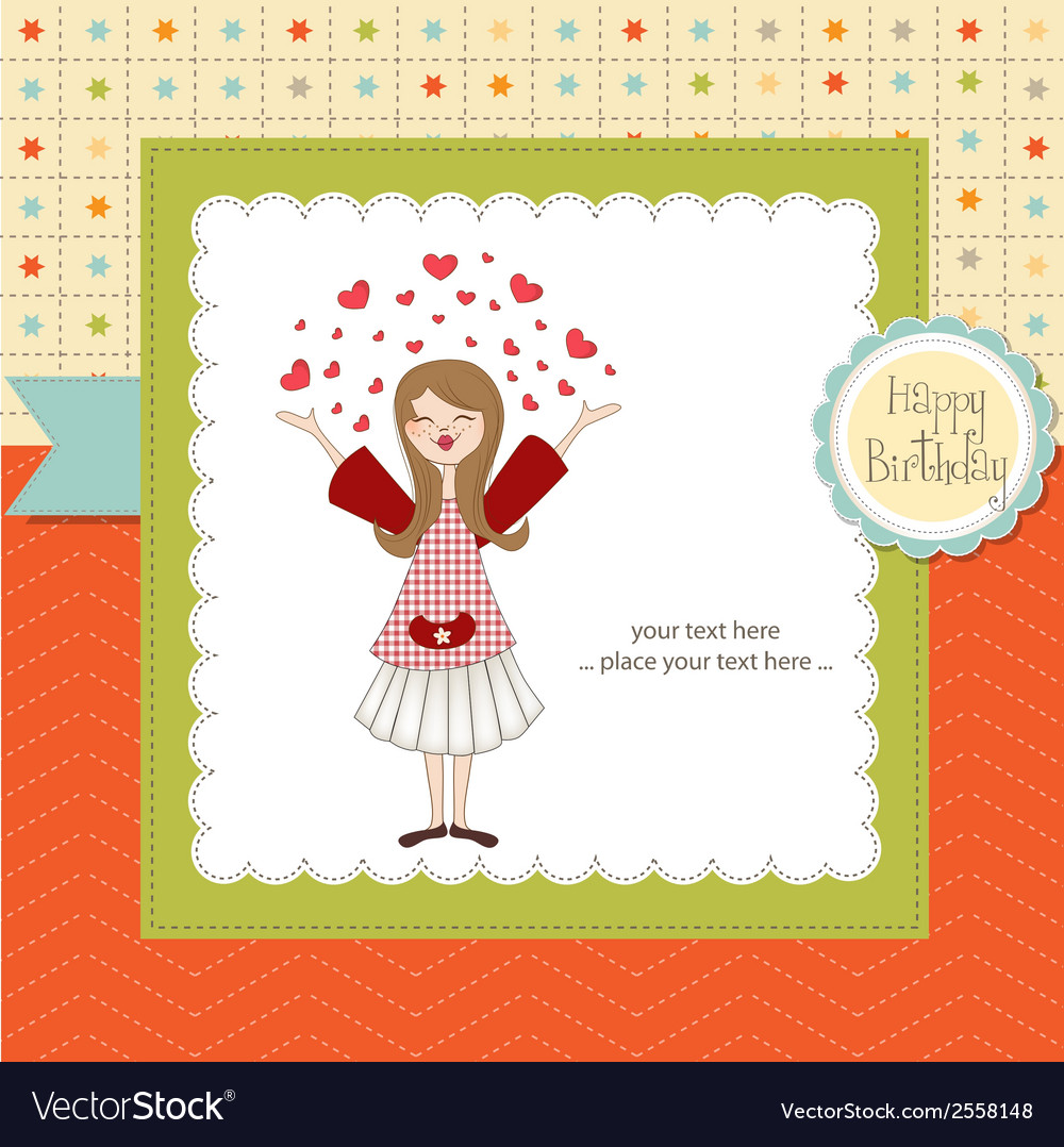 Pretty girl birthday card vector | Price: 1 Credit (USD $1)