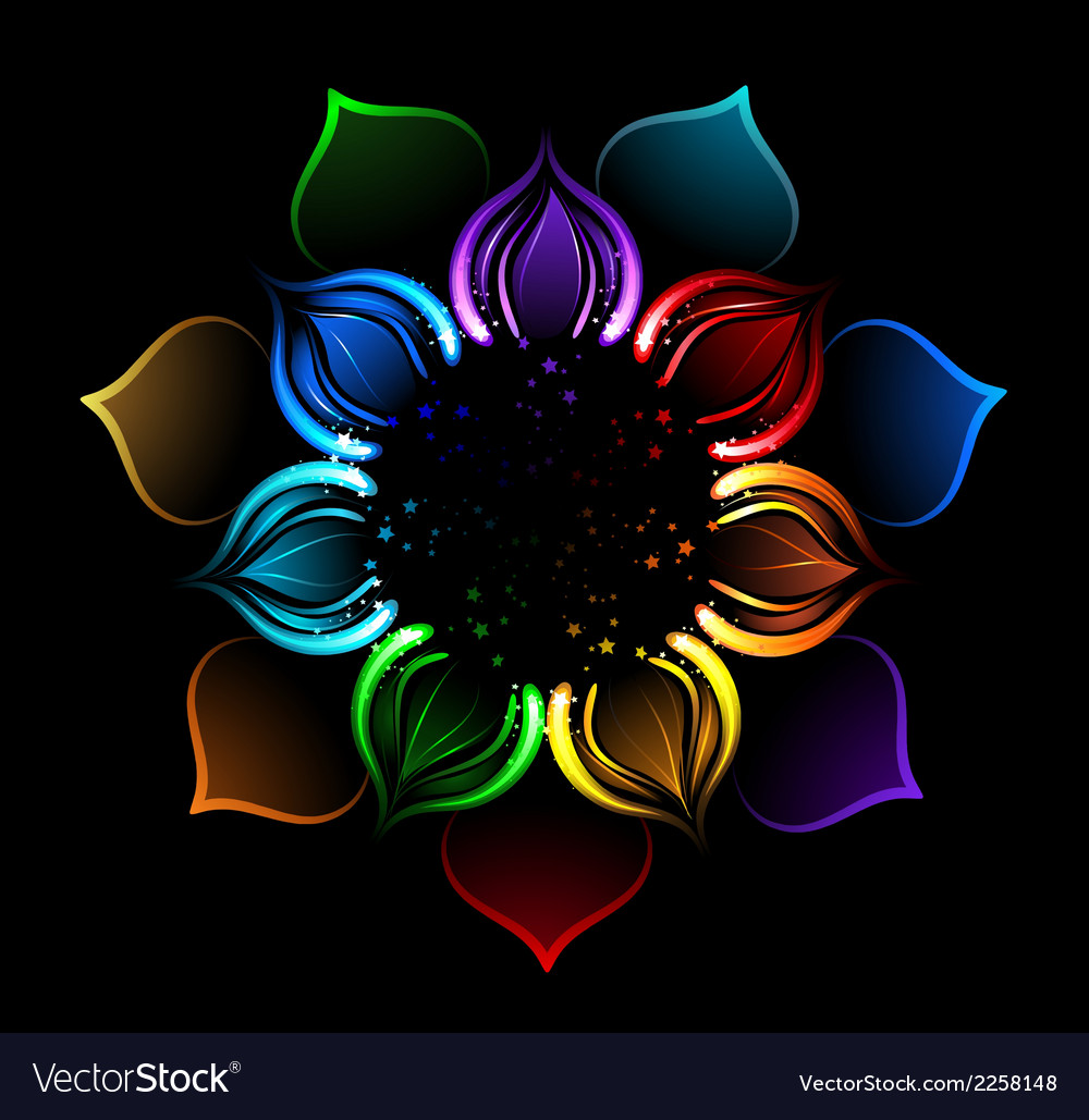 Rainbow lotus vector | Price: 1 Credit (USD $1)