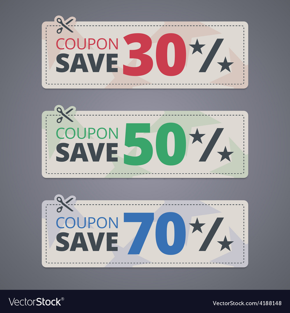 Scissors cutting coupons with discounts vector | Price: 1 Credit (USD $1)