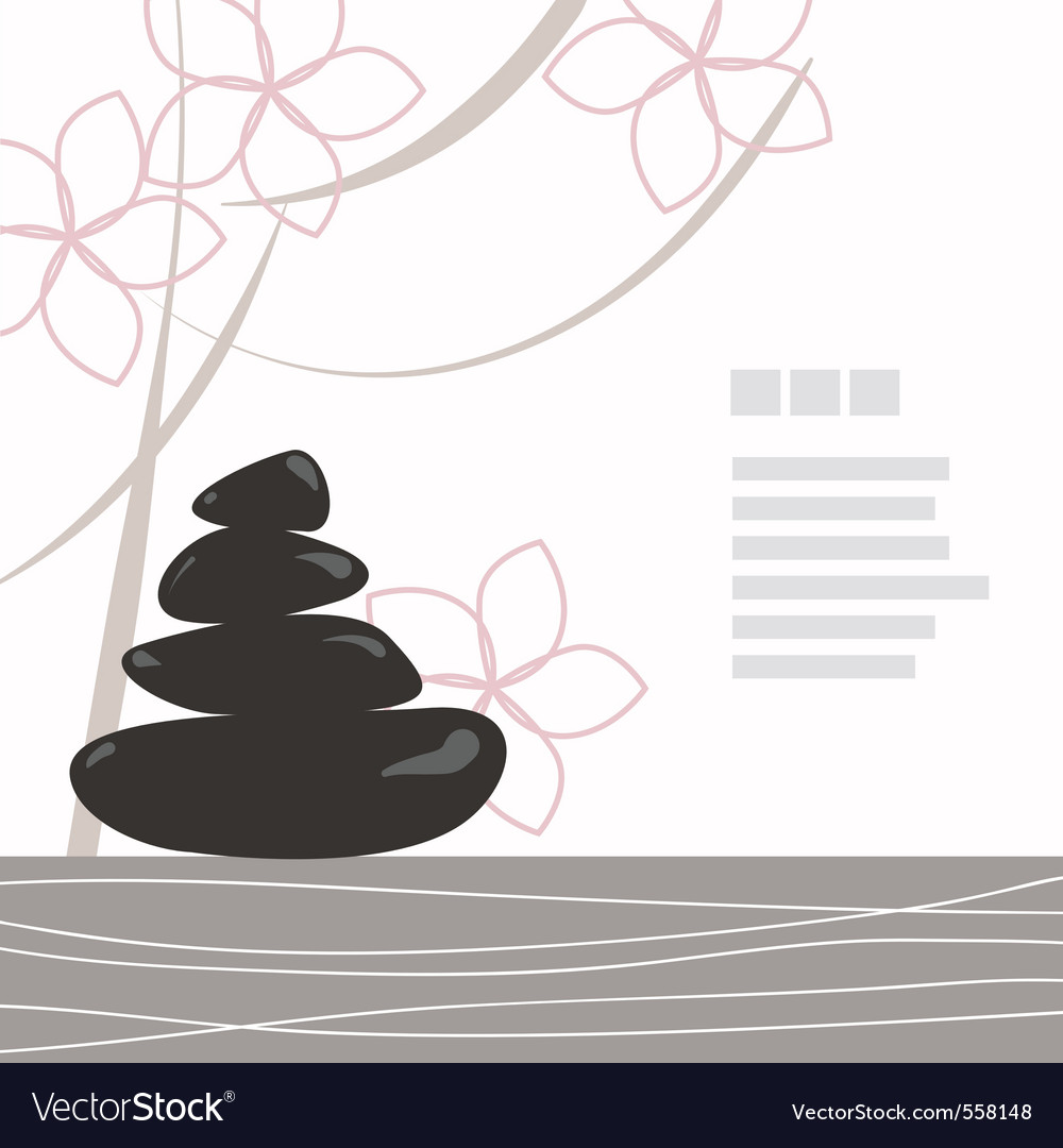 Spa background of black pebble decorated with flow vector | Price: 1 Credit (USD $1)