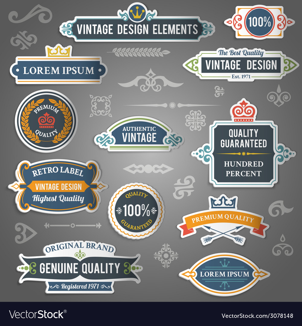 Vintage design elements stickers vector | Price: 1 Credit (USD $1)