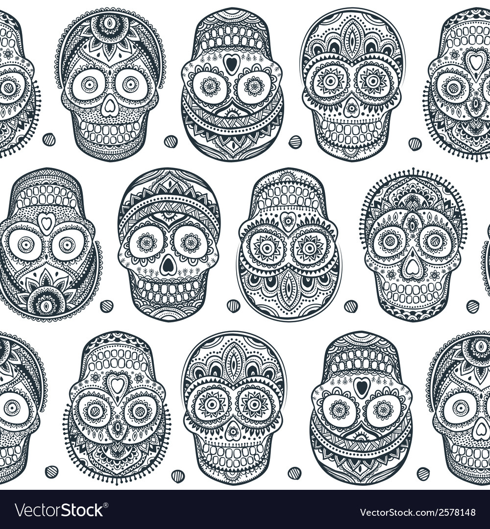 Vintage ethnic hand drawn human skull seamless vector | Price: 1 Credit (USD $1)