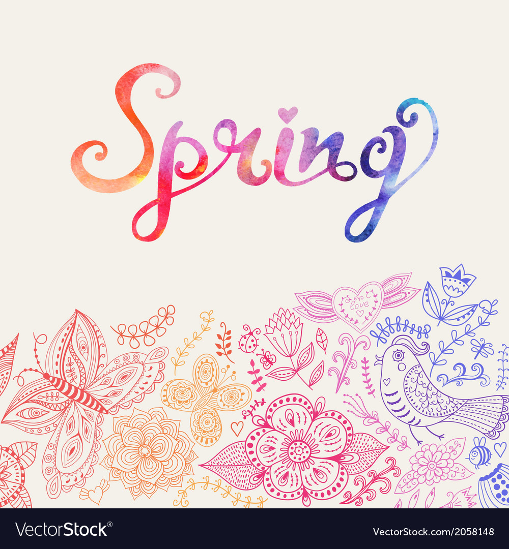 Watercolor floral greeting card with spring vector   Price: 1 Credit (USD $1)