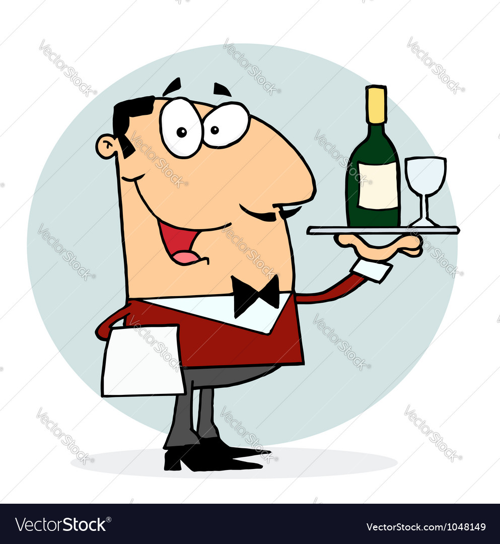 Caucasian male waiter serving wine vector | Price: 1 Credit (USD $1)