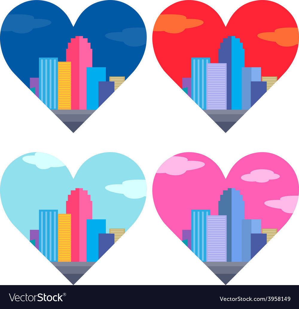 City of heart vector | Price: 1 Credit (USD $1)