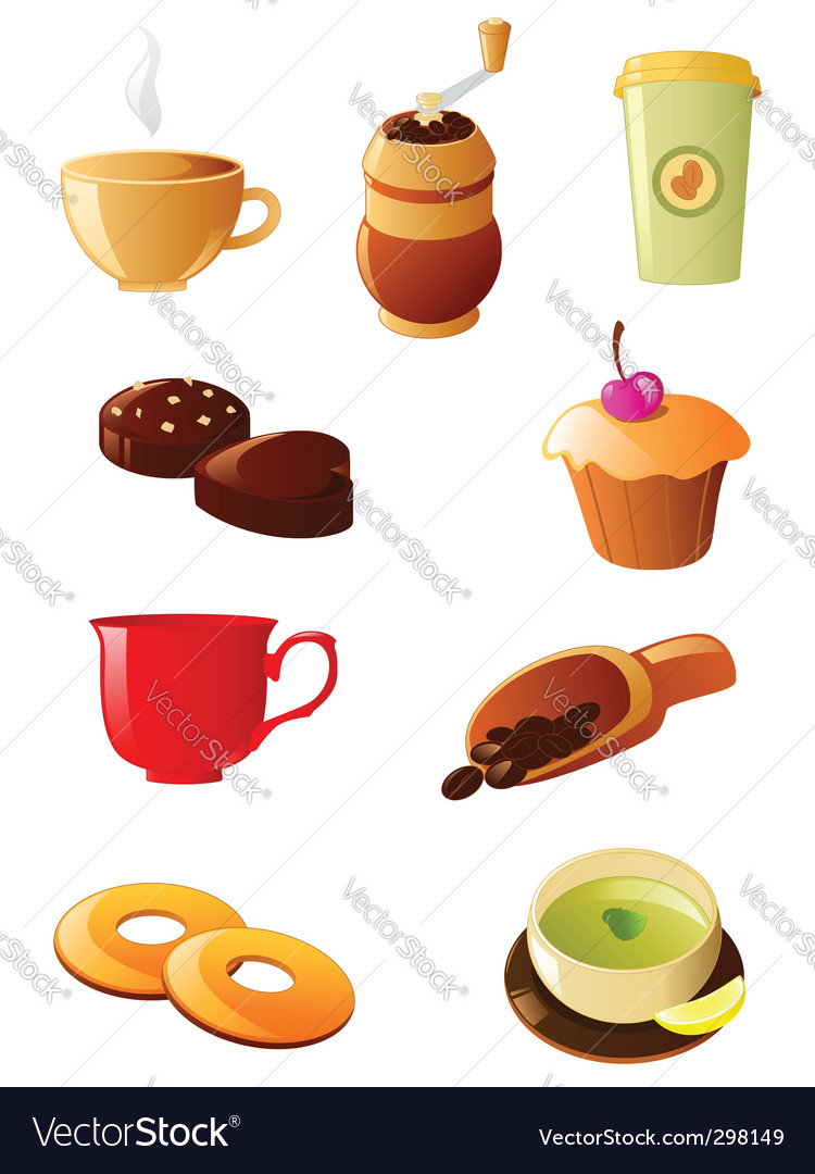 Coffee and tea icon set vector | Price: 1 Credit (USD $1)