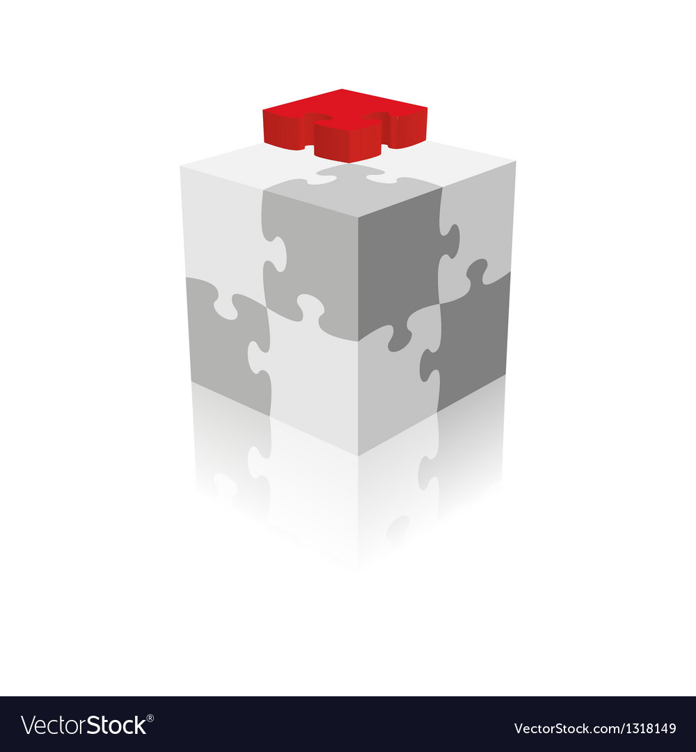 Cube puzzle grayscale with a red piece vector | Price: 1 Credit (USD $1)