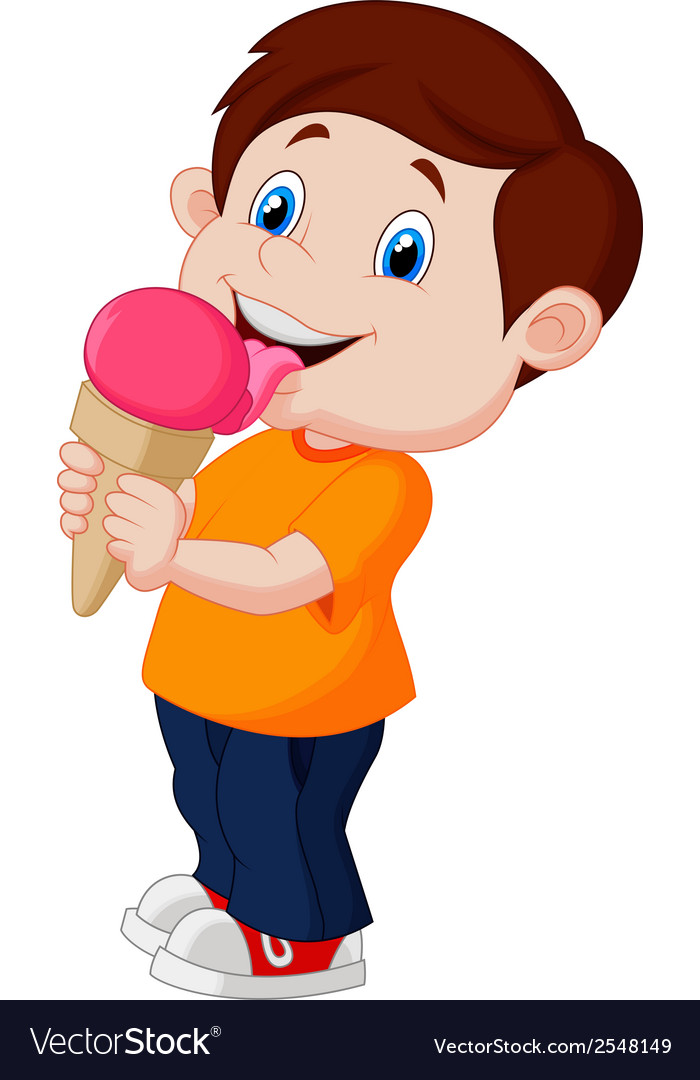 Cute boy cartoon licking ice cream vector | Price: 1 Credit (USD $1)