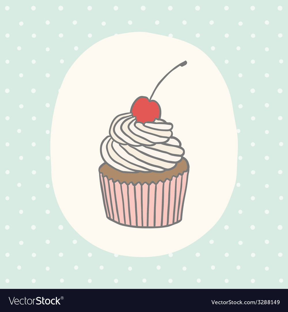 Cute greeting card with cupcake vector | Price: 1 Credit (USD $1)