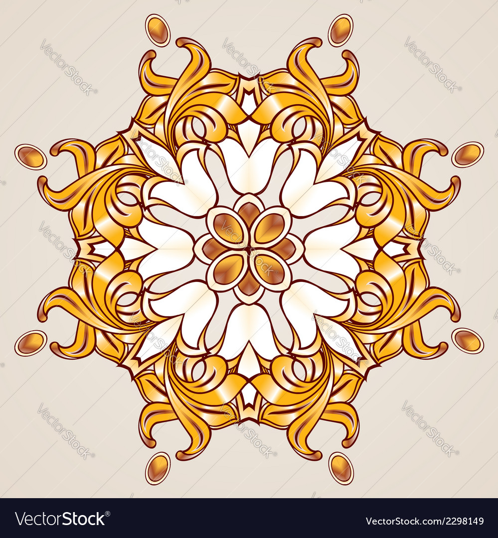 Floral pattern in golden shades vector | Price: 1 Credit (USD $1)