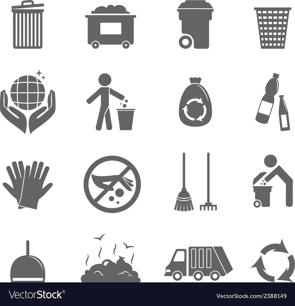 Garbage icons set vector | Price: 1 Credit (USD $1)