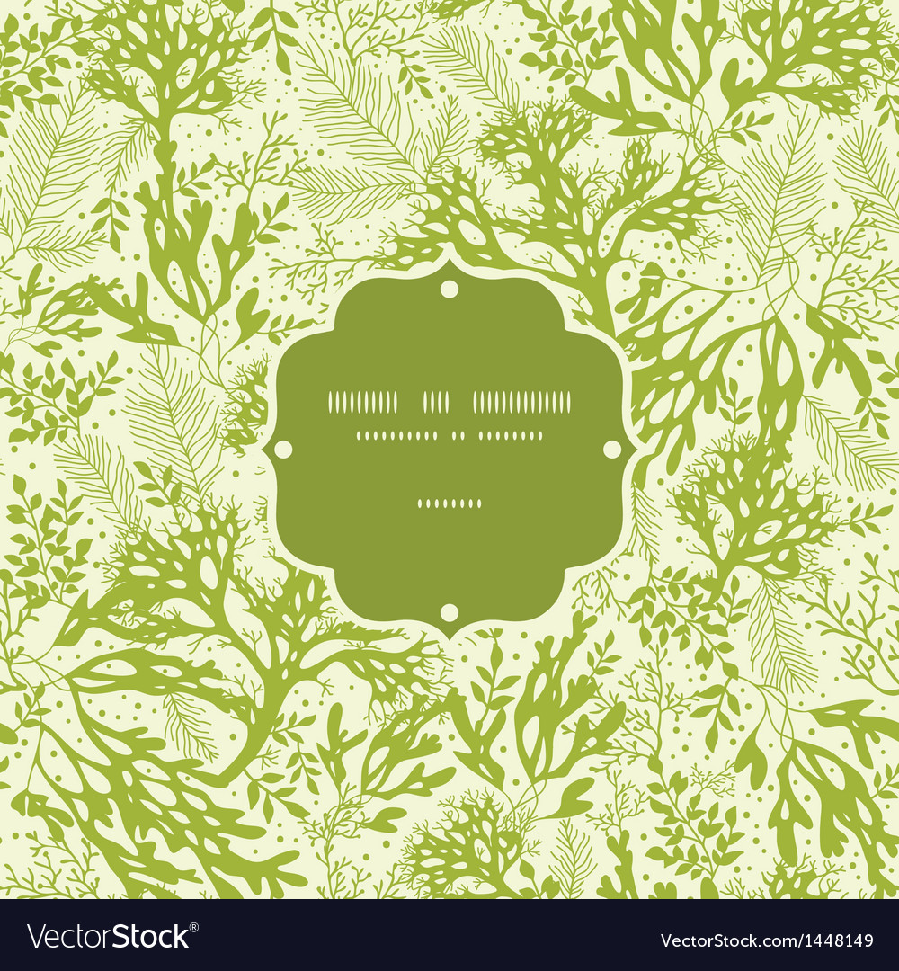 Green underwater seaweed frame seamless pattern vector | Price: 1 Credit (USD $1)