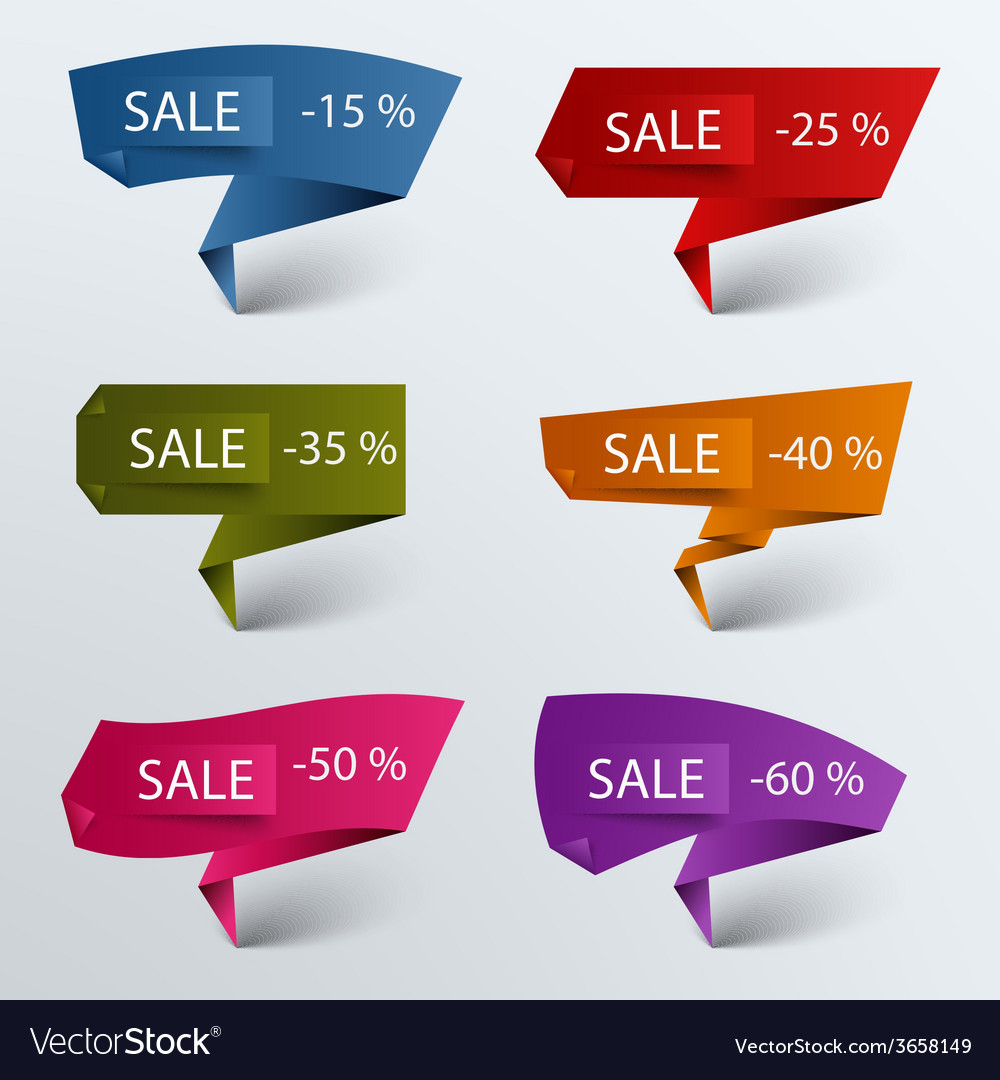 Paper colored folded pointer sale discount vector | Price: 1 Credit (USD $1)