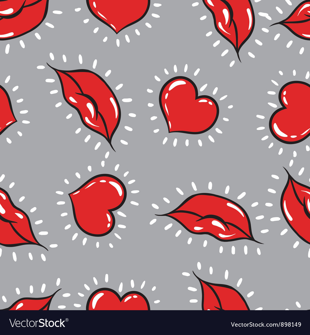 Seamless background lips and hearts print vector | Price: 1 Credit (USD $1)
