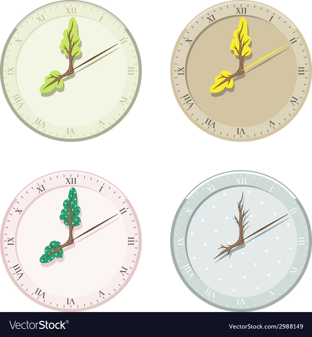 Set of seasonal clock summer autumn winter and vector | Price: 1 Credit (USD $1)