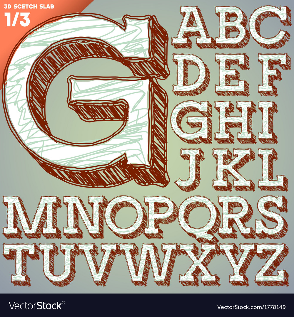 Sketch hand drawing alphabet vector | Price: 1 Credit (USD $1)