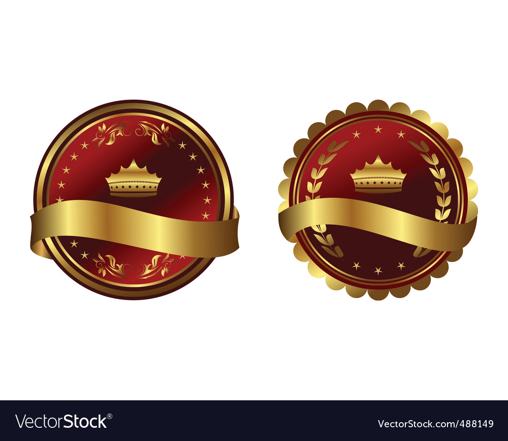 Two red gold framed labels vector | Price: 1 Credit (USD $1)